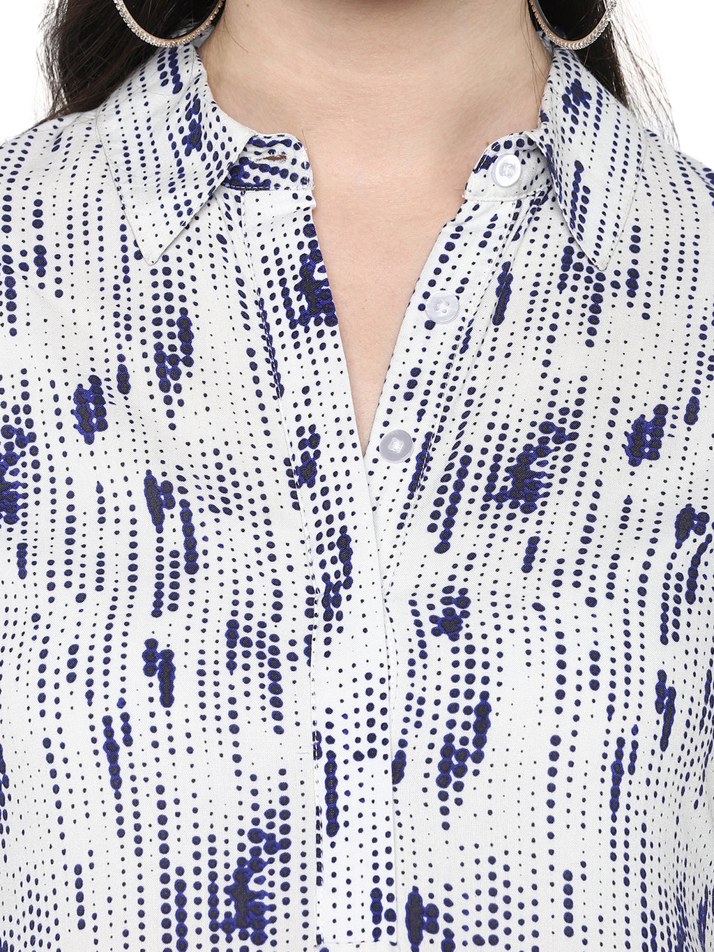 White And Blue Dots Nursing Top With Front Tie Up - momsoon maternity fashion wear