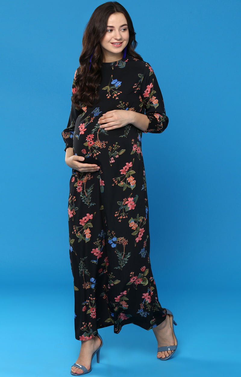 Smoking Cuff Detail Midi Dress - momsoon maternity fashion wear