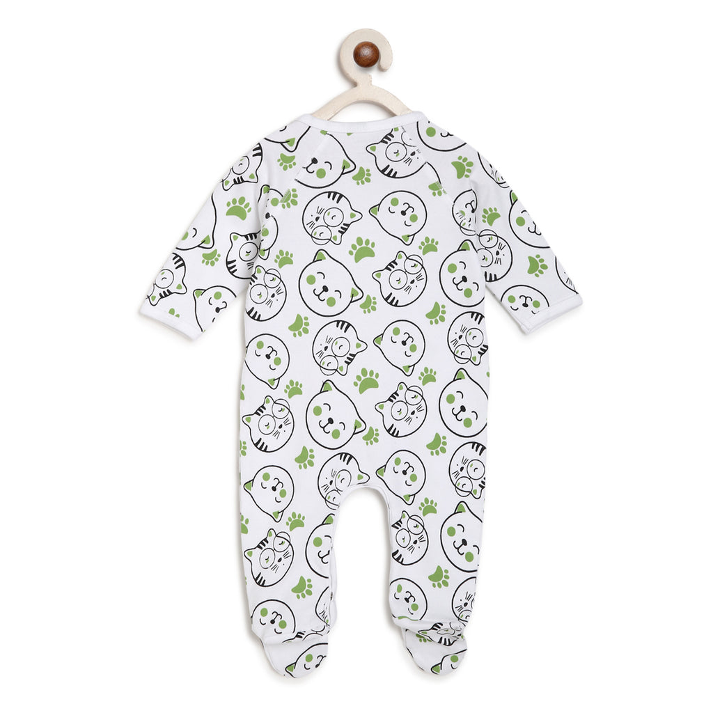 Berrytree Organic Cotton Romper Green Cats