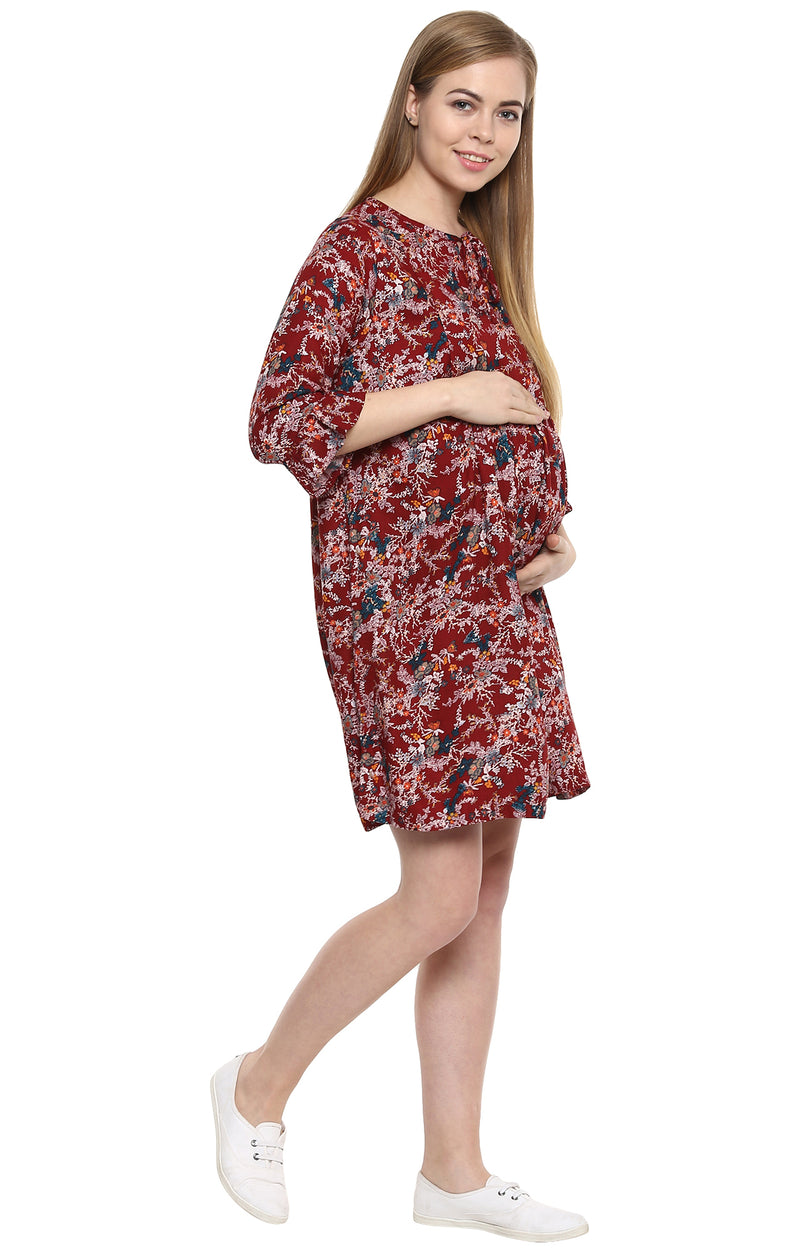 Momsoon Flared Sleeve Tunic Dress - MomSoon Maternity and Nursing Wear