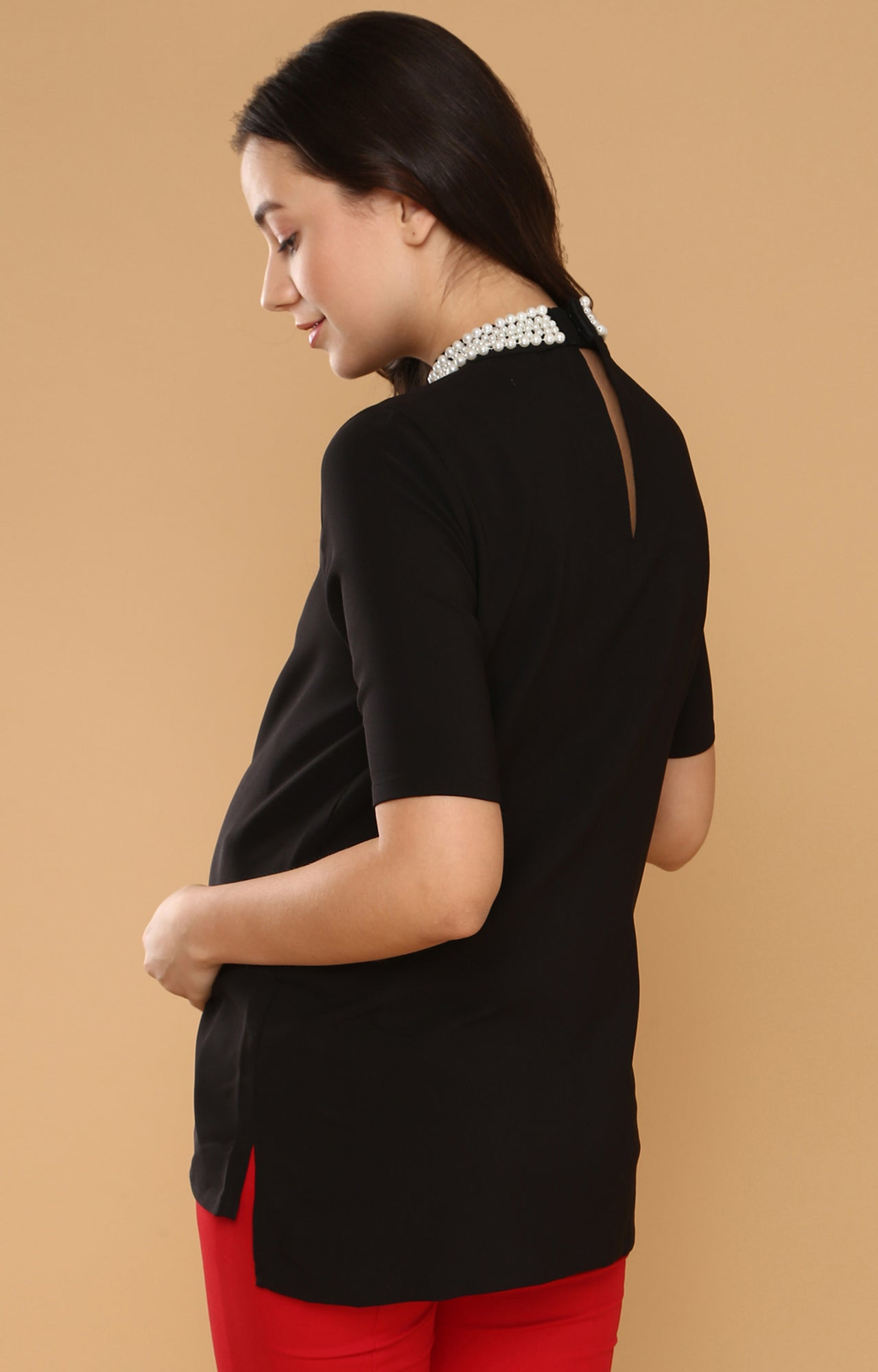 Pearl Detail High Low Hem Top - momsoon maternity fashion wear