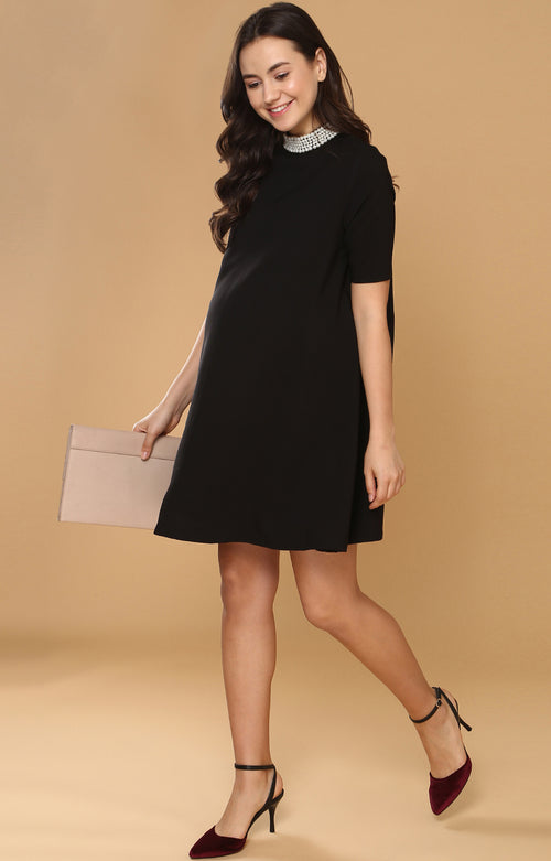 Pearl Detail Dress - momsoon maternity fashion wear