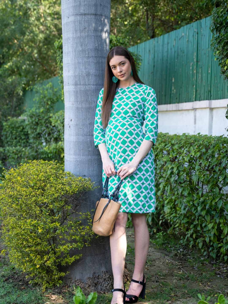 Stripes With Floral Print Tunic Dress - momsoon maternity fashion wear