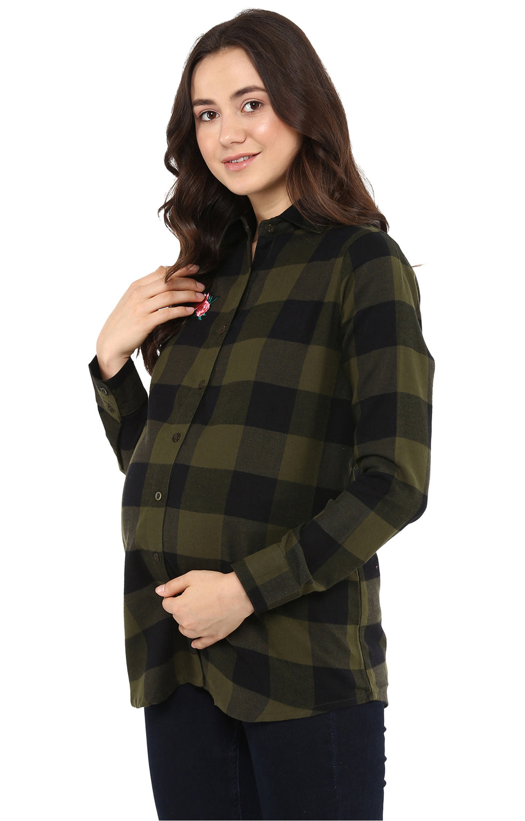 Basic Detail Check Shirt - momsoon maternity fashion wear