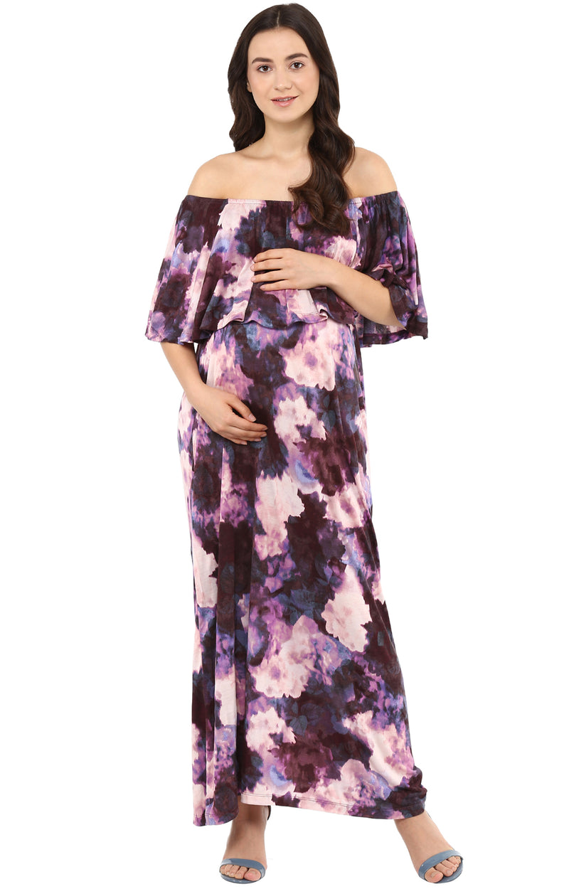 Off Shoulder Cape Detail Maxi Dress - momsoon maternity fashion wear