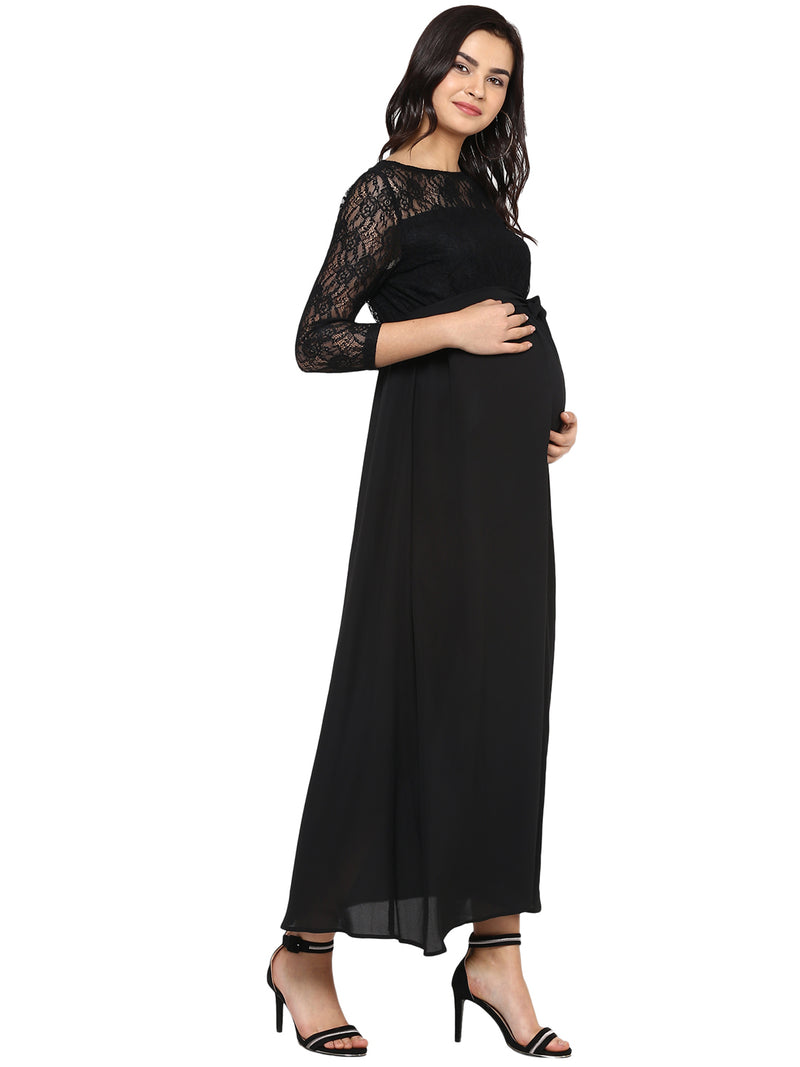 Lace Detailed Baby shower maxi dress - momsoon maternity fashion wear