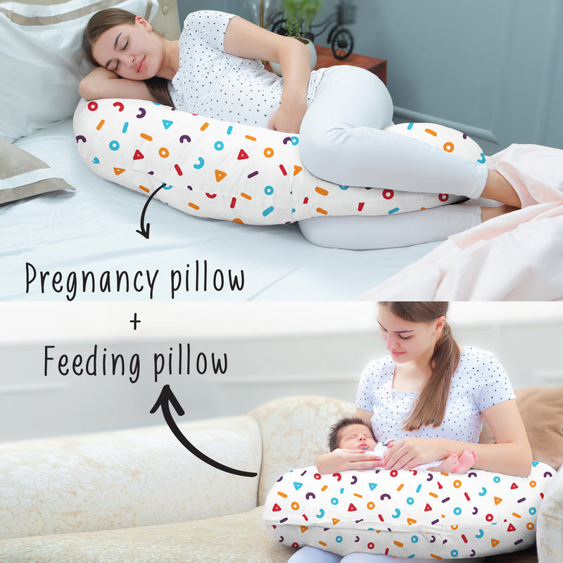 Rabitat Duo Motherhood Multi Function Pillow, Pregnancy Pillow+Feeding Pillow - Memphis - momsoon maternity fashion wear