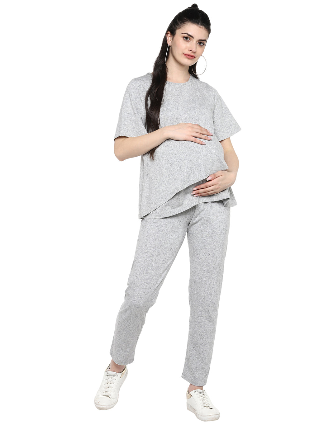 Knitted Grey Nursing  Night wear set - momsoon maternity fashion wear