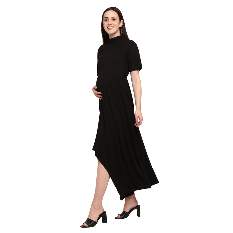 Asymmetrical Black Maxi Dress