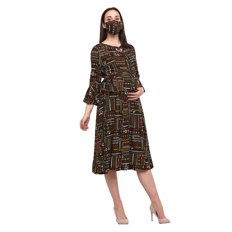 "The ""Boho""Dress With Matching Fashion Mask"