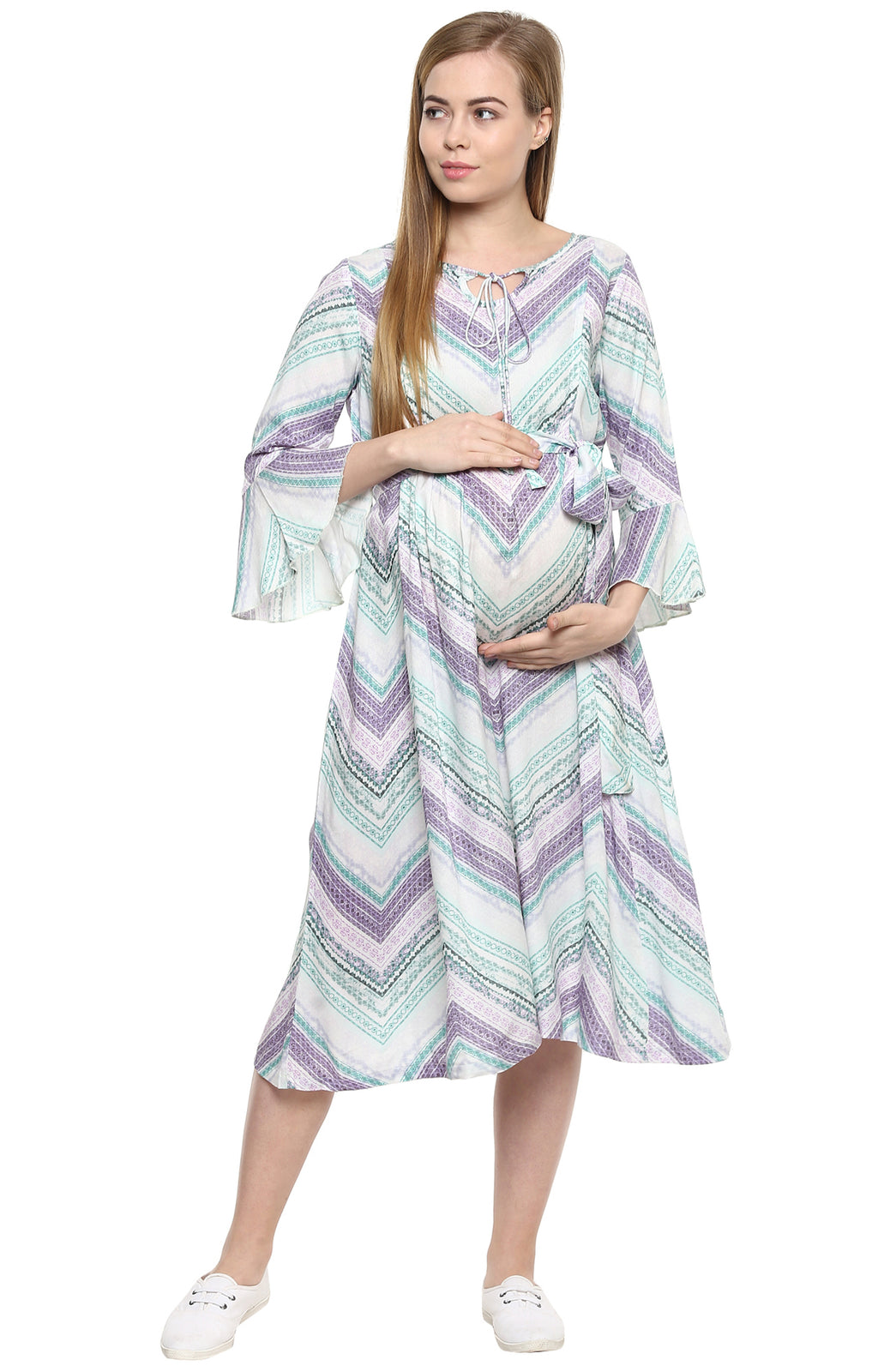 Front String Tie Up Nursing Tunic Dress - MomSoon Maternity and Nursing Wear