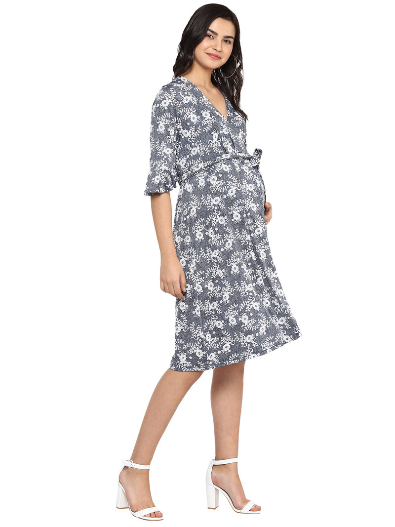 Grey Tunic Dress with tie up - momsoon maternity fashion wear