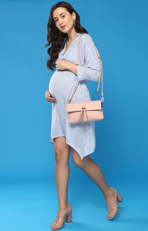 Collar Detail Stripe Shirt - momsoon maternity fashion wear