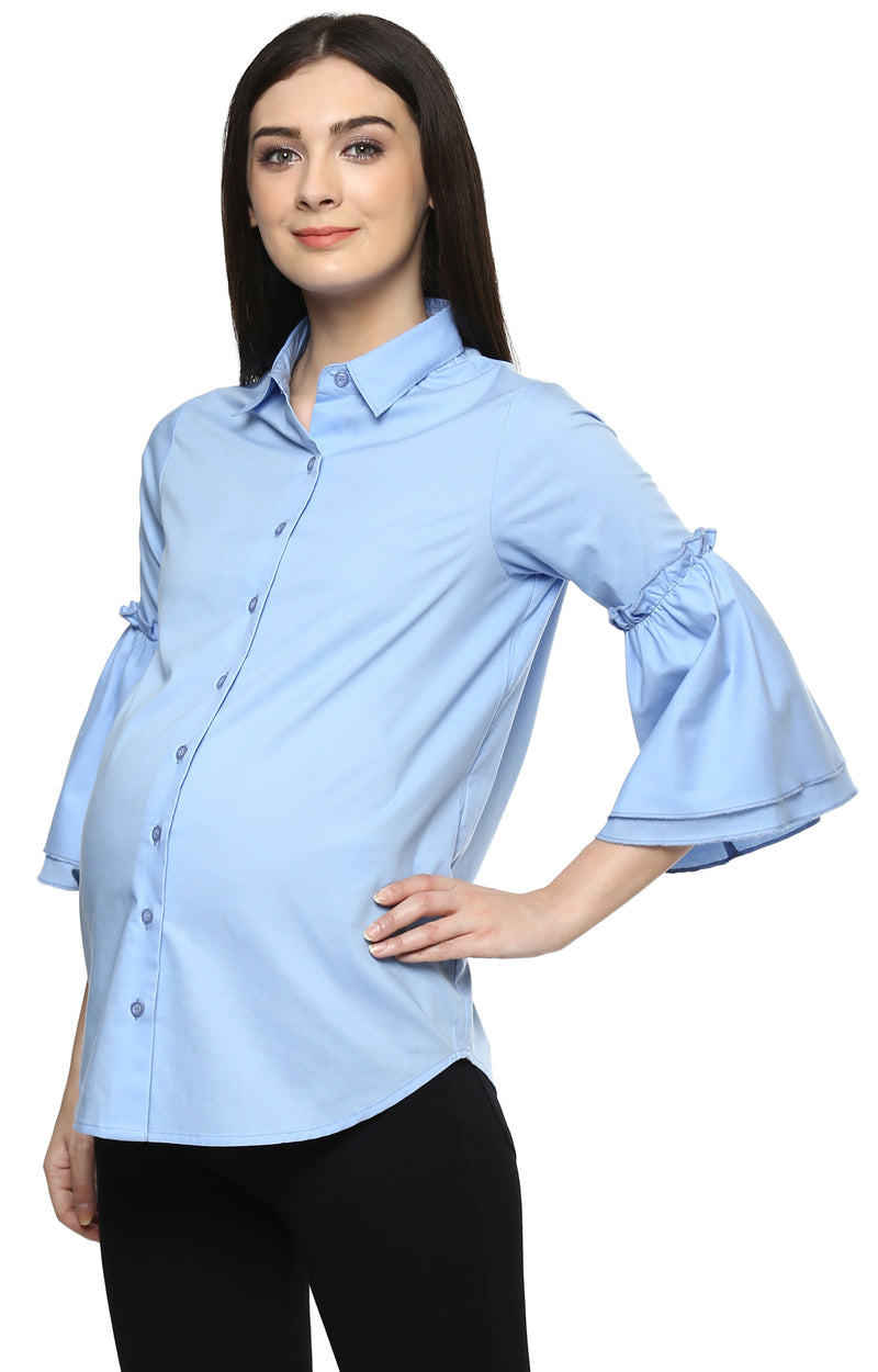 Maternity Bell Sleeve Shirt - momsoon maternity fashion wear