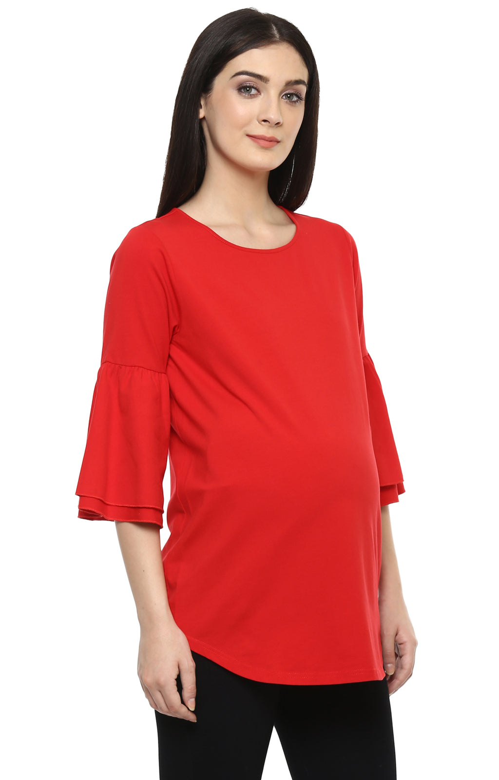 Maternity Bell Sleeve Red Top - momsoon maternity fashion wear
