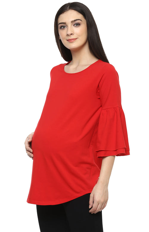 MOMSOON MATERNITY BELL SLEEVE RED TOP - momsoon maternity fashion wear