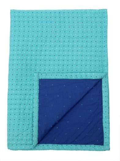 Reversible Baby Quilt by Not Just Kidding (Blue & Green)