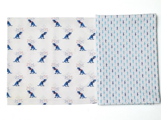 Baby Bed Sheet by Not Just Kidding (Dinosaurs & Sharks)