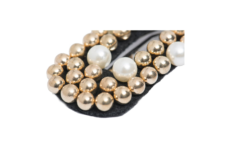 Hair Drama Company Opaline Clip- Golden with White Pearls - momsoon maternity fashion wear