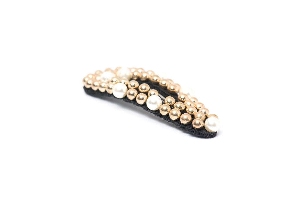 Hair Drama Company Opaline Clip- Golden with White Pearls