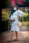 "The ""Aqua"" Dress With Matching Fashion Mask - momsoon maternity fashion wear"