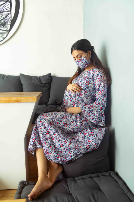 "The ""Lavender"" Dress With Matching Fashion Mask - momsoon maternity fashion wear"