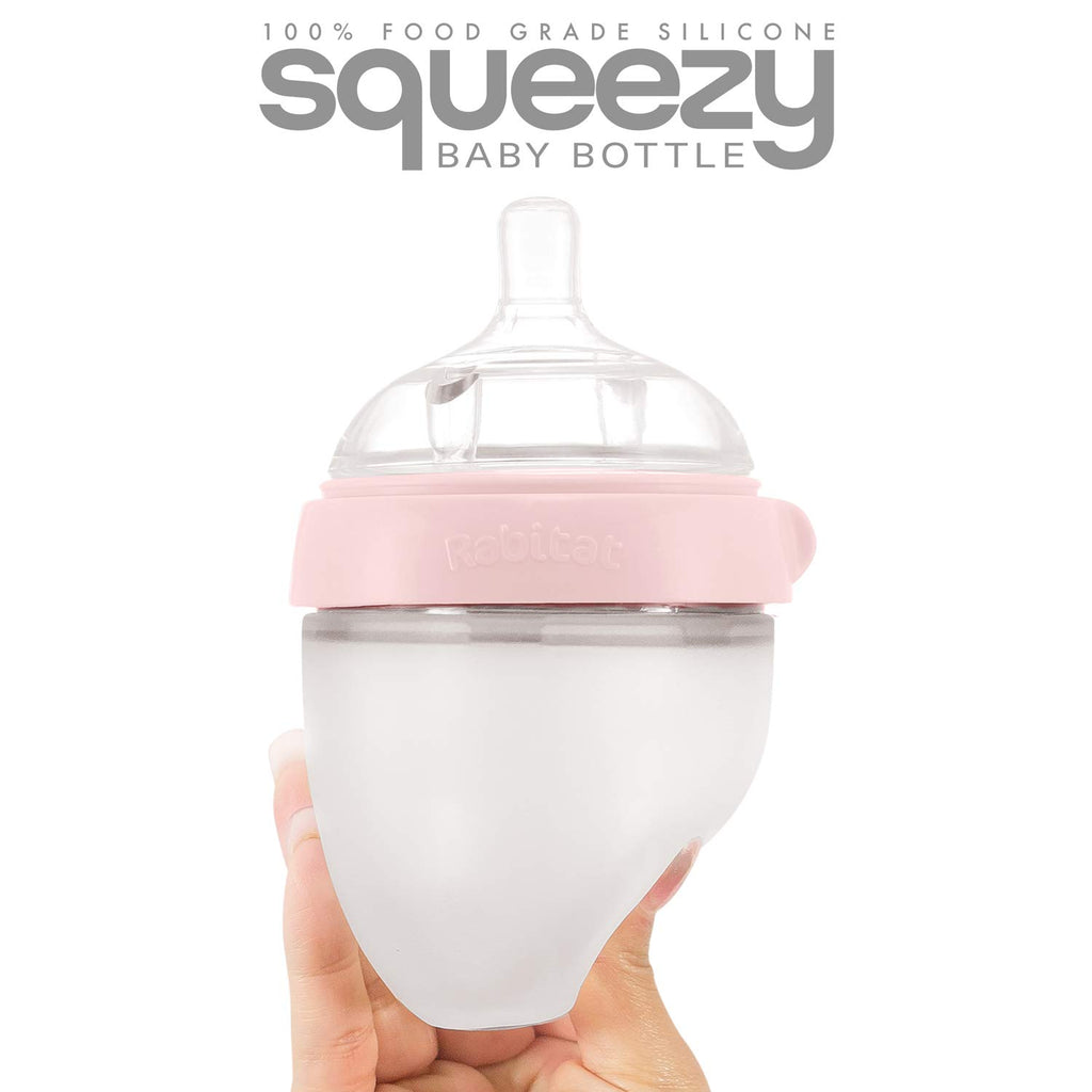 Rabitat Squeezy Silicone Feeding Bottle (150ml Single Bottle, Pink)