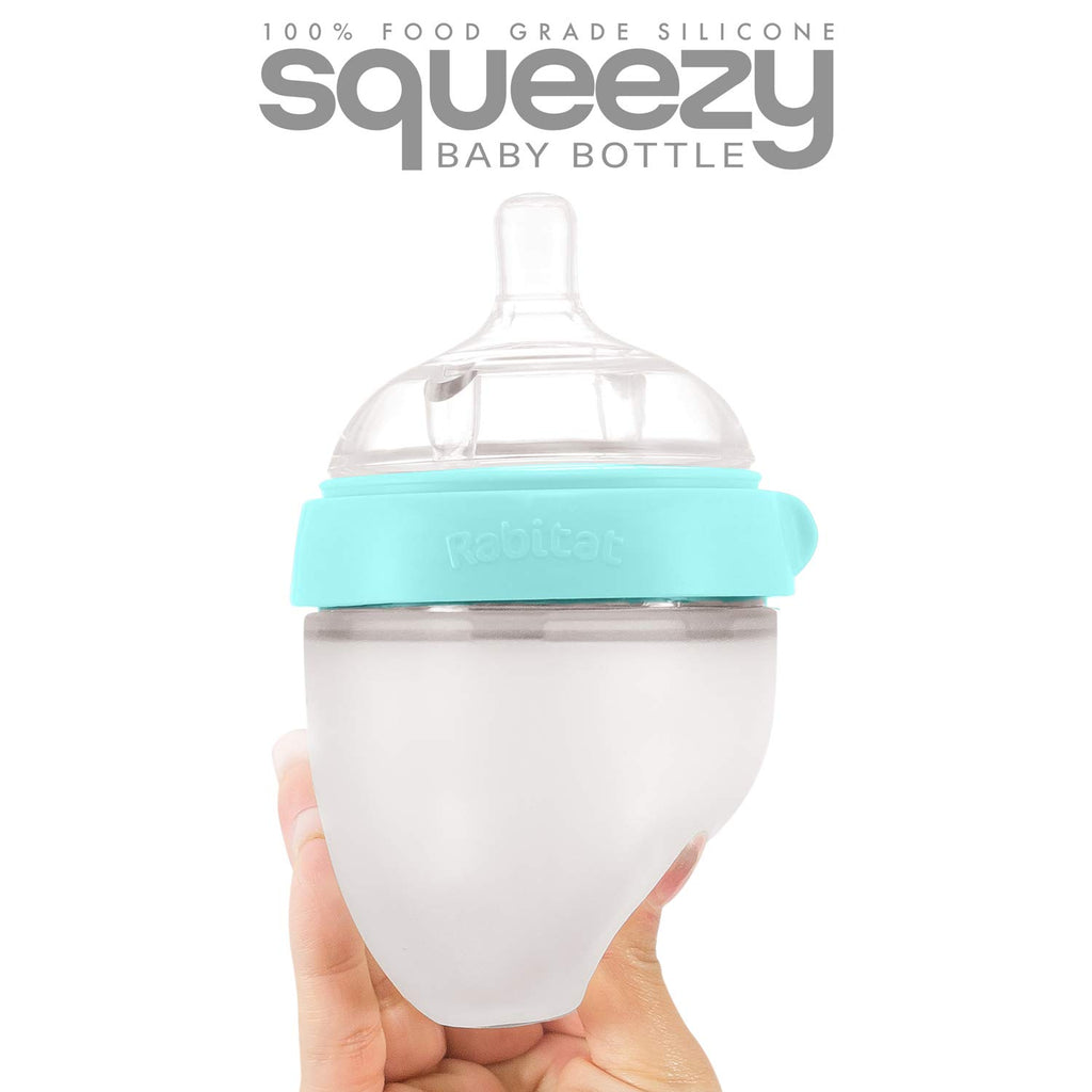 Rabitat Squeezy Silicone Feeding Bottle (150ml Double Bottle, Blue)