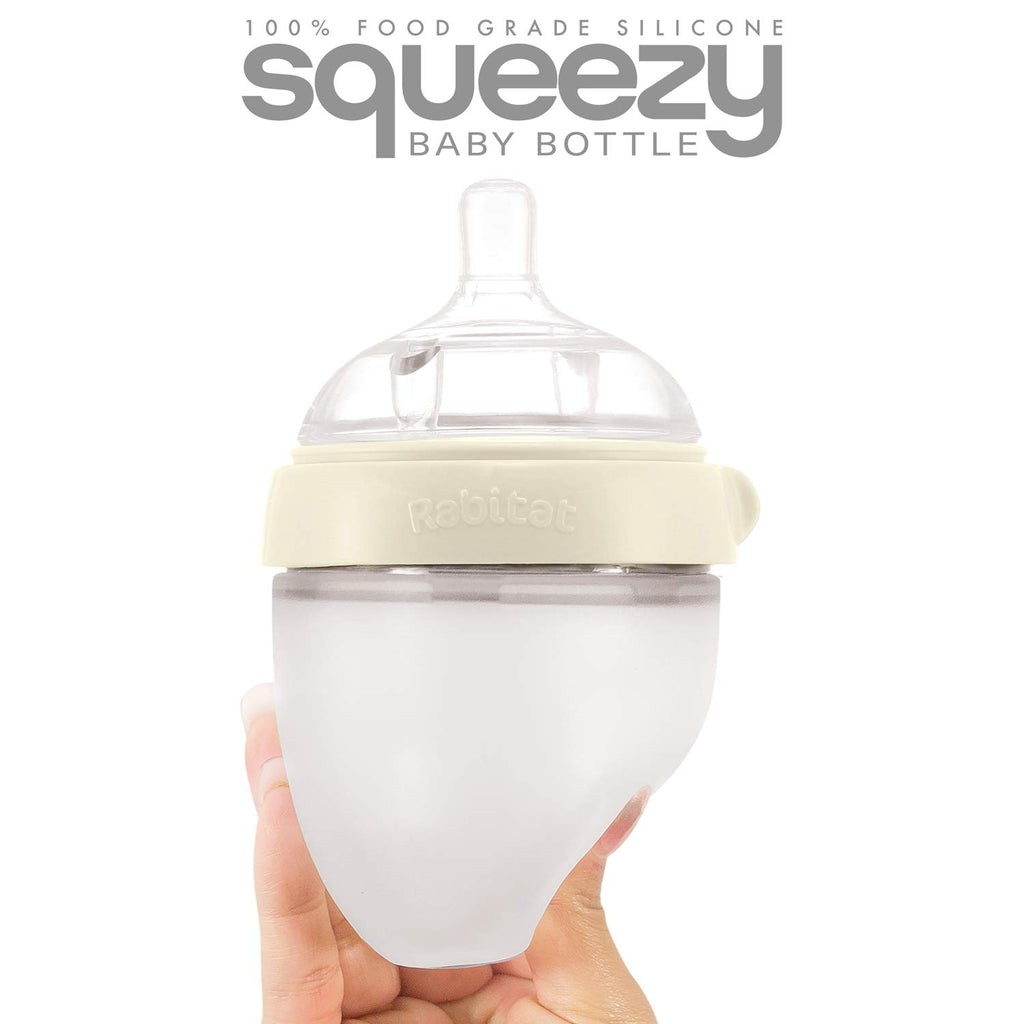 Rabitat Squeezy Silicone Feeding Bottle (150ml Double Bottle, Daisy White)