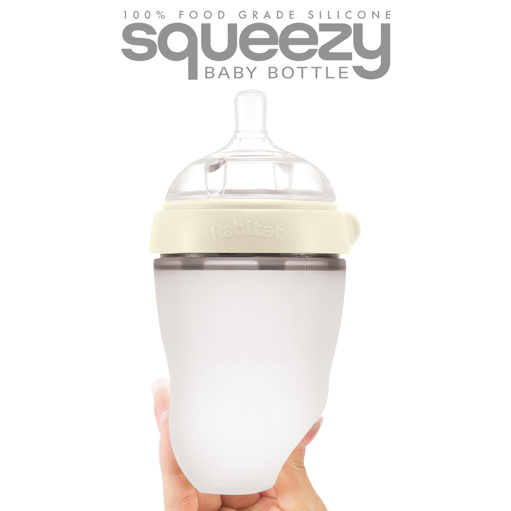 Rabitat Squeezy Silicone Feeding Bottle (250ml Double Bottle, Daisy White)