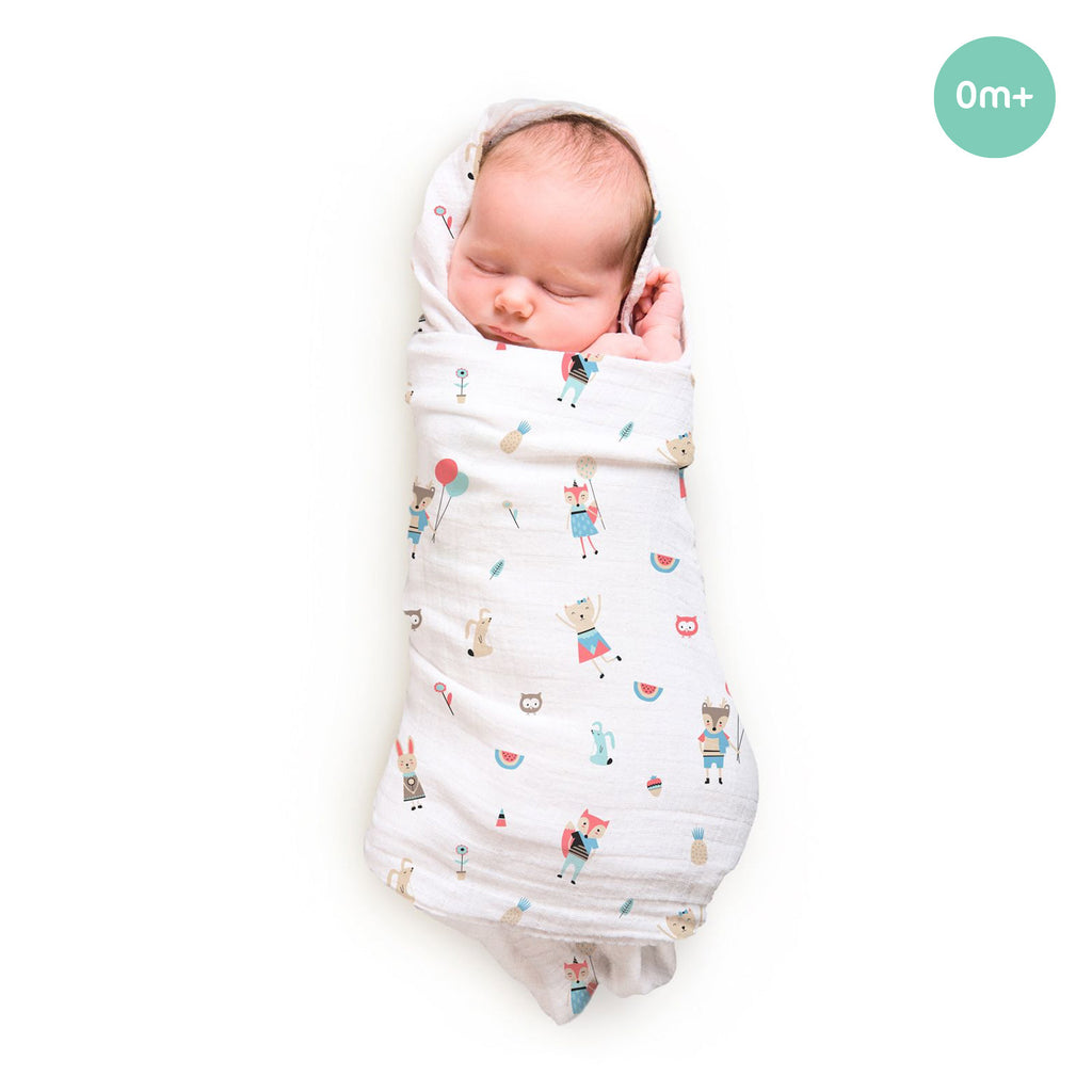 Rabitat Bamboo Swaddle Pamper Soft Fox and Friends