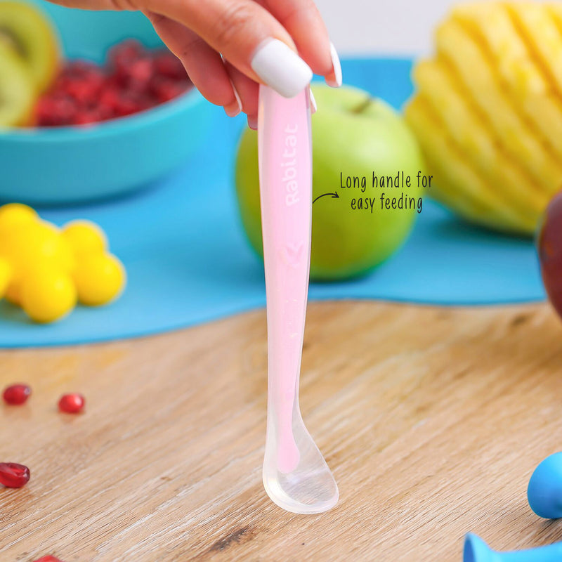 Rabitat Soft & Flexible Silicone Spoons  Green/Pink