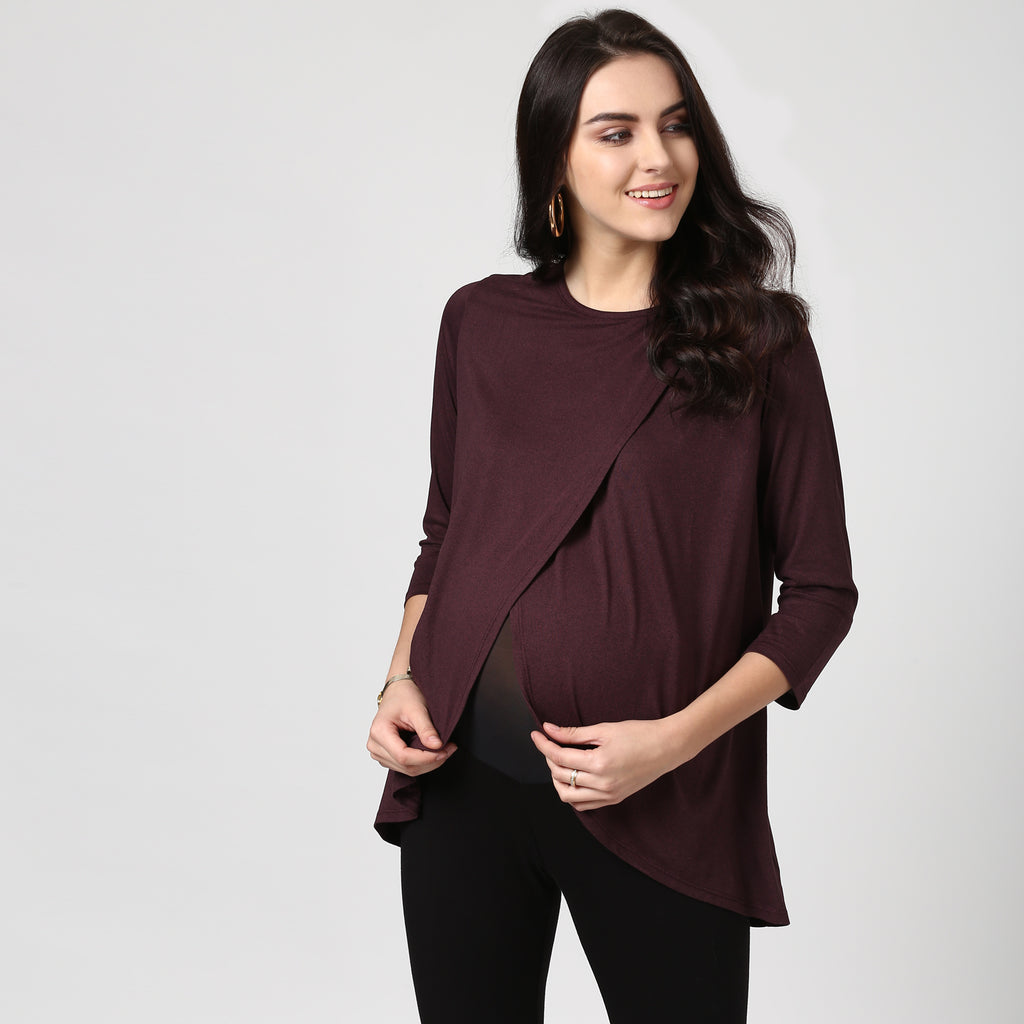 Front Overlapping Maternity Cum Nursing Top - MomSoon Maternity and Nursing Wear