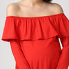 Full Sleeves Off Shoulder Dress - momsoon maternity fashion wear