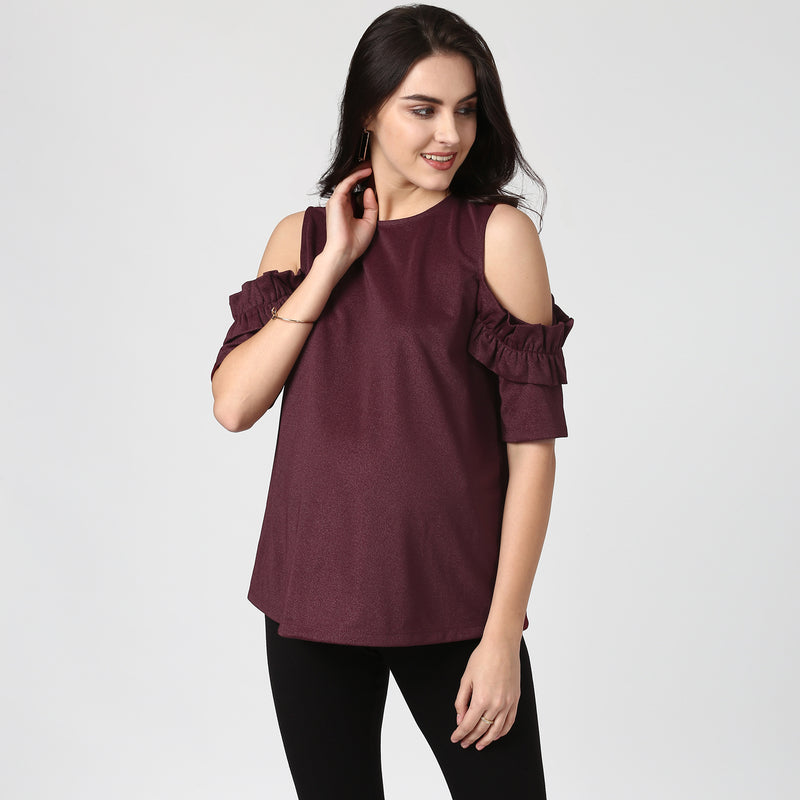Frill Detail Cold Shoulder Top - momsoon maternity fashion wear