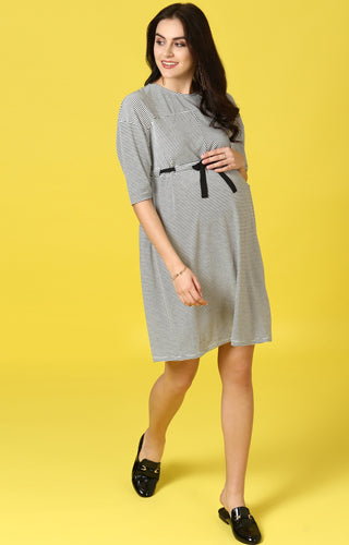 Drop Shoulder Striped Dress with Tie Up - MomSoon Maternity and Nursing Wear