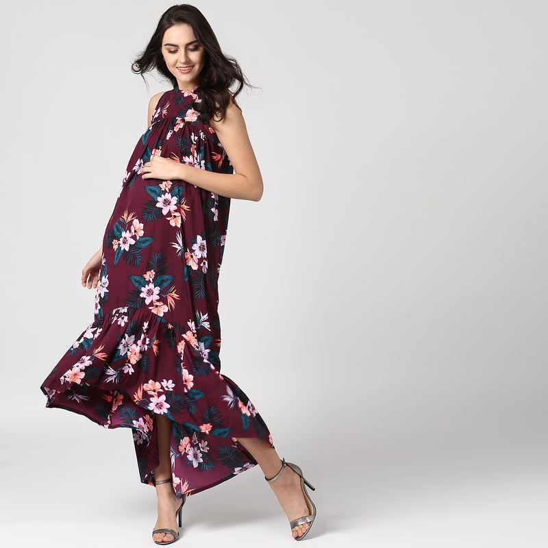 Ladder Lace Detail Floral Print Dress - momsoon maternity fashion wear