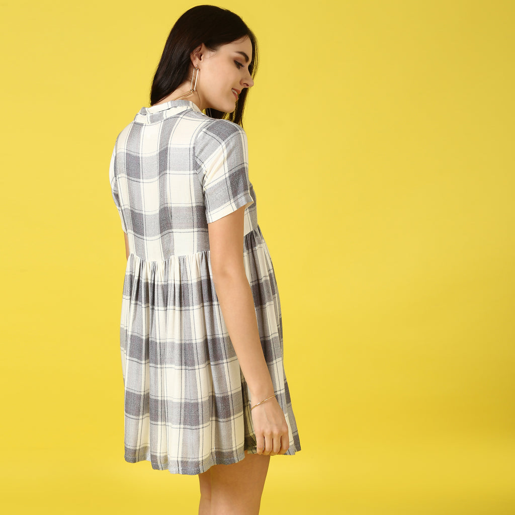 Checkered Tunic Shirt Dress - momsoon maternity fashion wear