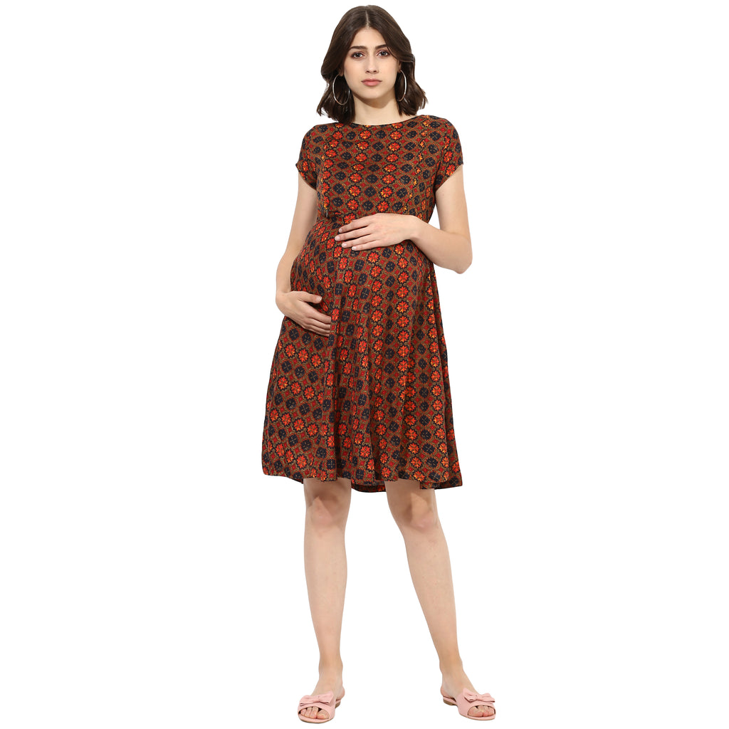 Multi Colour Nursing Tunic Dress - momsoon maternity fashion wear