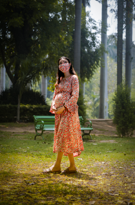 "The ""Coral"" Dress With Matching Fashion Mask - momsoon maternity fashion wear"