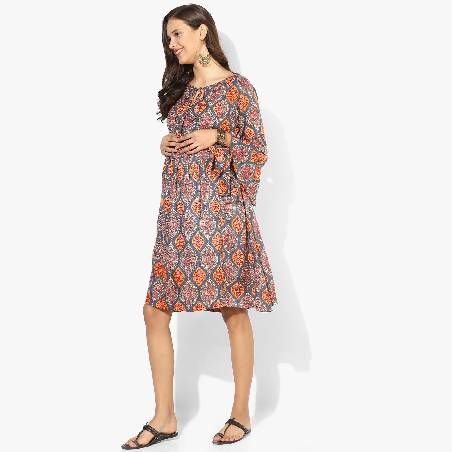 FRONT STRING TIE UP NURSING TUNIC DRESS - momsoon maternity fashion wear