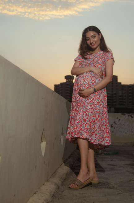 "The "" Tangerine"" Dress With Matching Fashion Mask - momsoon maternity fashion wear"