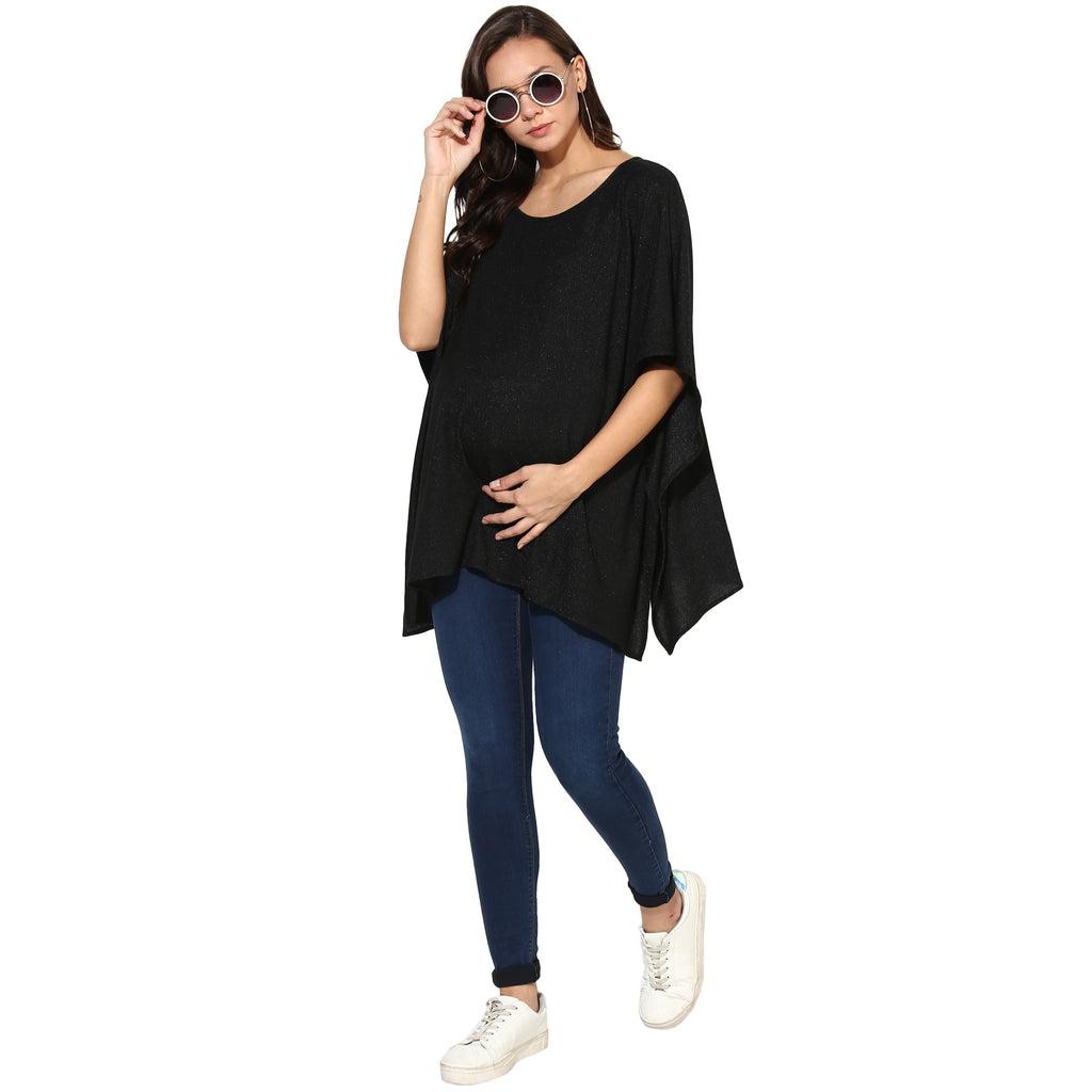 Kimono Style Black Top - momsoon maternity fashion wear