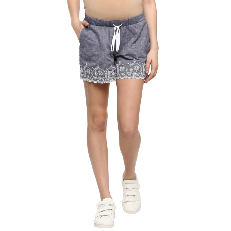 Maternity Schiffli Shorts - momsoon maternity fashion wear