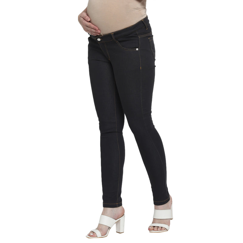 Momsoon Maternity Basic Black Denim With Beige Belly Band