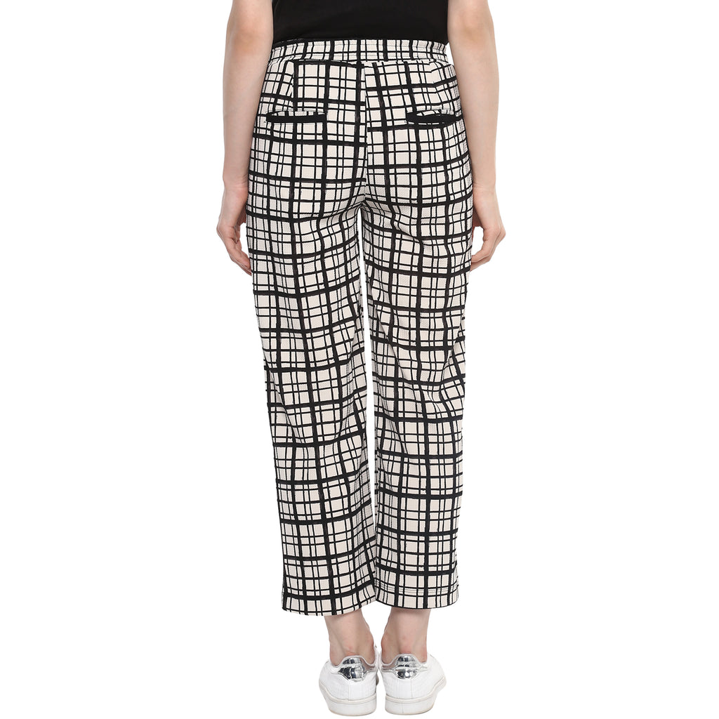 Checkered Ankle Length Trousers - MomSoon Maternity and Nursing Wear