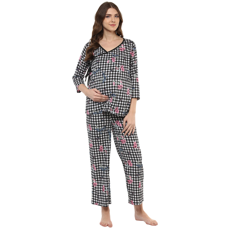 Maternity & Nursing Printed Overlapping Pyjama set - momsoon maternity fashion wear
