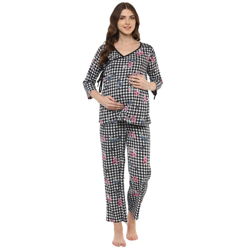 MomSoon  Maternity and Nursing  Printed overlapping Pyjama set - momsoon maternity fashion wear