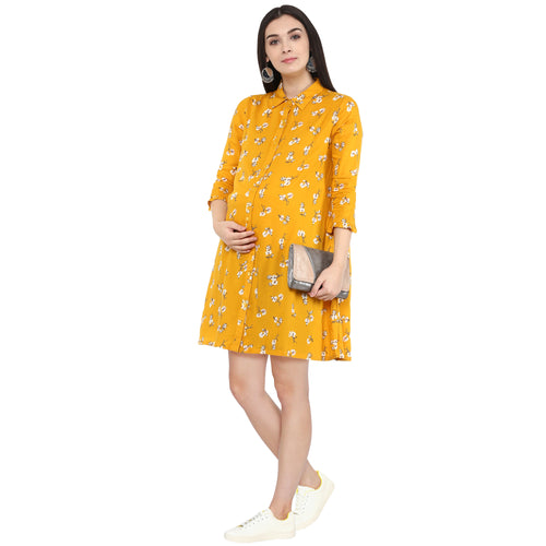 BUTTON UP FLORAL PRINT TUNIC - momsoon maternity fashion wear