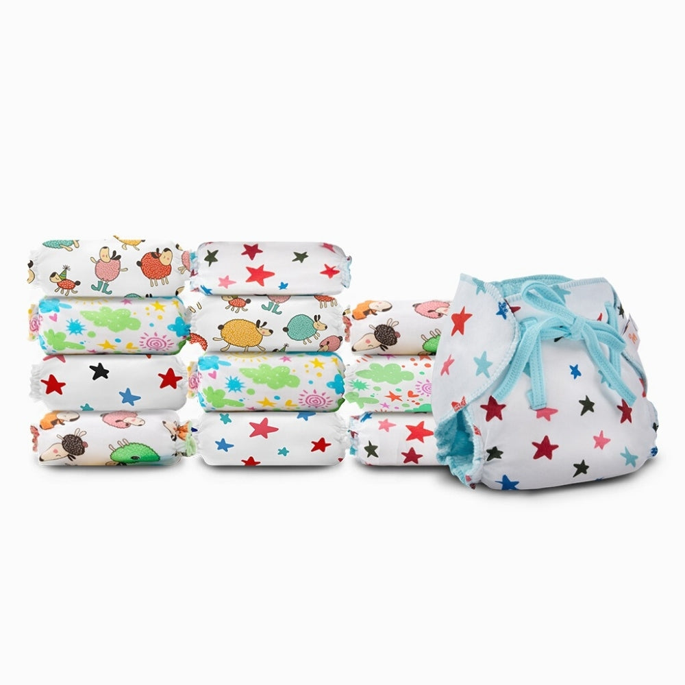 SuperBottoms Dry Feel Langot - Pack of 12, Printed - Organic cotton padded langot with gentle elastics & a SuperDryFeel(TM) Layer on top